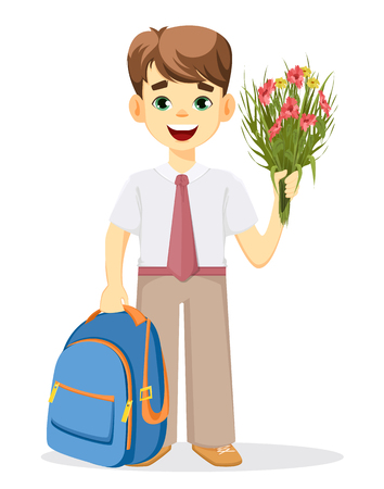 Schoolboy with backpack and bouquet of flowers. Coming back to school. Cute smiling boy. Cartoon character. Vector illustration.