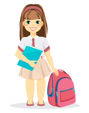 Schoolgirl with backpack and textbook. Coming back to school. Cute smiling girl. Cartoon character. Vector illustration.