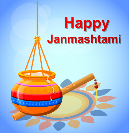 Happy Krishna Janmashtami. Pot with butter and flute on beautiful blue background. Vector illustration. Çizim