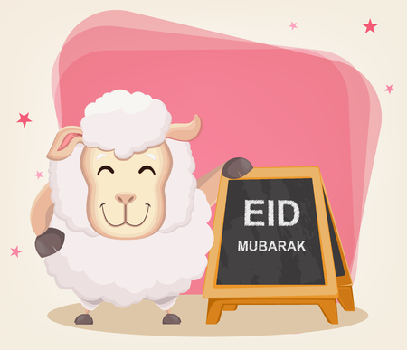 Festival of sacrifice Eid-Ul-Adha. Traditional muslin holiday. Greeting card with funny sheep standing near advertising sign. Vector illustration on abstract background.