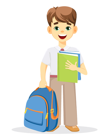 Schoolboy with backpack and textbook. Coming back to school. Cute smiling boy. Cartoon character. Vector illustration. Illusztráció