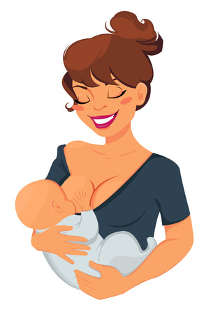 Woman breastfeeding newborn baby. Mother holding her child and smiling. Vector illustration.