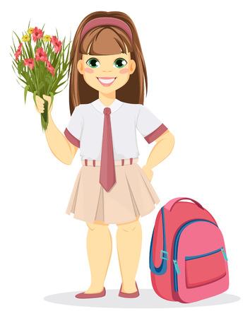 Školák s batohem a kyticí květin. Návrat do školy. Roztomilá usměvavá dívka. Kreslená postavička. Vektorové ilustrace.