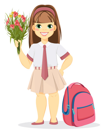 Schoolgirl with backpack and bouquet of flowers. Coming back to school. Cute smiling girl. Cartoon character. Vector illustration.