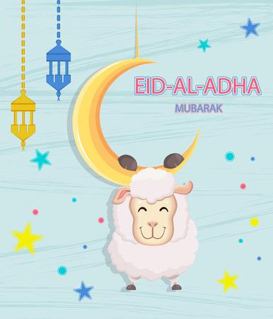 Festival of sacrifice Eid-Al-Adha. Eid Mubarak. Goat hanging on the moon. Vector illustration on abstract blue background