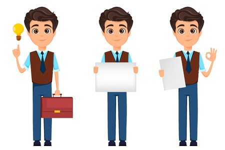 Business man cartoon character. Businessman showing ok sign, holding banner, holding briefcase and having an idea. Vector illustration.