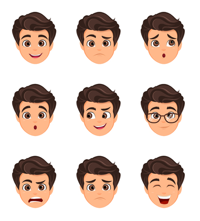 Male emotions set. Facial expression. Cartoon character with various face expressions. Vector illustration