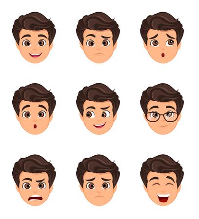 Set di emozioni maschili. Espressione facciale. Personaggio dei cartoni animati con varie espressioni del viso. Illustrazione vettoriale