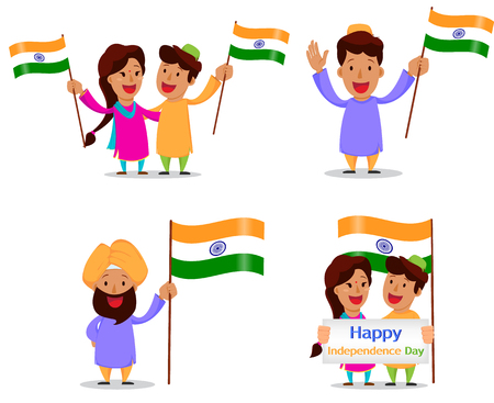 Independence Day in India. Greeting card with funny cartoon characters. Indian people with national flag. Vector illustration