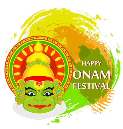 Kathakali face with heavy crown for festival of Onam celebration on grunge background. Colorful vector illustration.