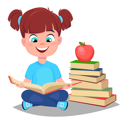 Back to school. Cute girl reading book and sitting near a stack of books. Pretty little schoolgirl. Cheerful cartoon character. Vector illustration Illustration