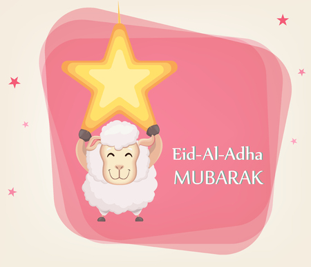 Festival of sacrifice Eid al-Adha. Traditional muslin holiday. Greeting card with funny sheep hanging on the star. Vector illustration on abstract background. Illustration