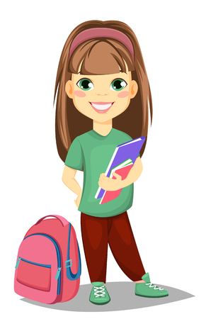 Back to school. Cute girl with books in casual clothes stands near schoolbag. Pretty little schoolgirl. Cheerful cartoon character. Vector illustration Ilustração