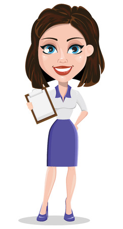 Beautiful business woman holding blank clipboard. Businesswoman in formal wear standing straight. Cute cartoon character. Vector illustration. Illustration