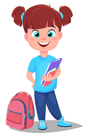 Back to school. Cute redhead girl with books in casual clothes stands near schoolbag. Pretty little schoolgirl. Cheerful cartoon character. Vector illustration