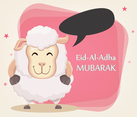 Festival of sacrifice Eid al-Adha. Traditional muslin holiday. Greeting card, funny sheep with empty speech bubble. Vector illustration on abstract background.