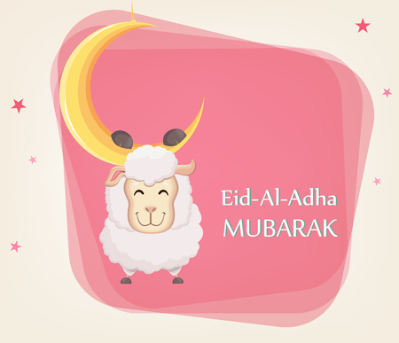 Festival of sacrifice Eid al-Adha. Traditional muslin holiday. Greeting card with funny sheep hanging on the moon. Vector illustration on abstract background. Illustration
