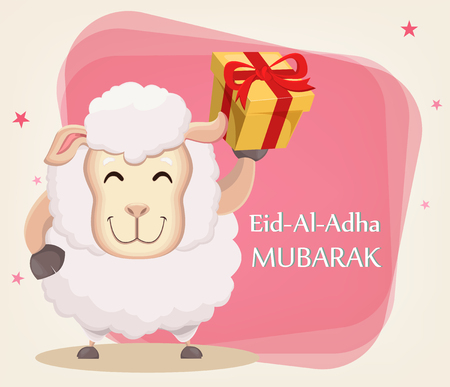 Festival of sacrifice Eid al-Adha. Traditional muslin holiday. Greeting card, funny sheep with gift box. Vector illustration on abstract background. Иллюстрация