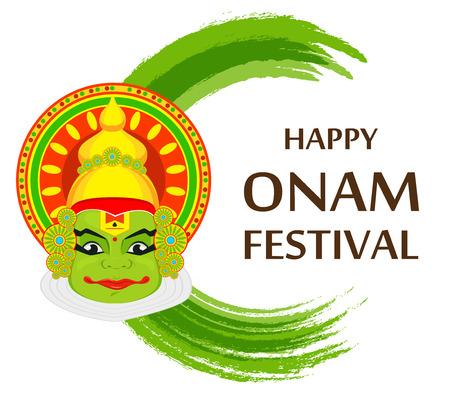 sravanmahotsav: Kathakali face with heavy crown for festival of Onam celebration. Colorful vector illustration.