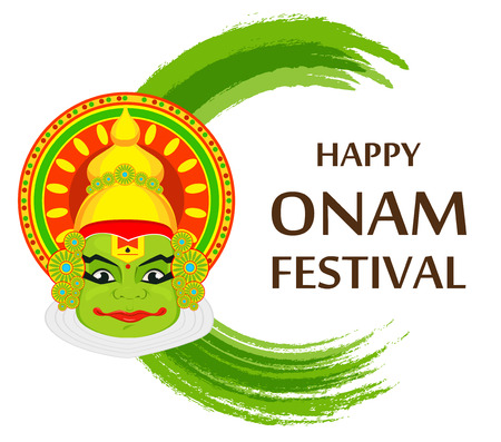 Kathakali face with heavy crown for festival of Onam celebration. Colorful vector illustration.