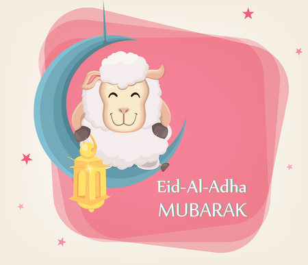 Festival of sacrifice Eid al-Adha. Traditional muslin holiday. Greeting card with funny sheep holding golden lantern and sitting on the moon. Vector illustration on abstract background. Illustration