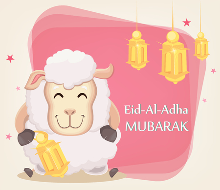 Festival of sacrifice Eid al-Adha. Traditional muslin holiday. Greeting card with funny sheep holding golden lantern. Vector illustration on abstract background. Illustration