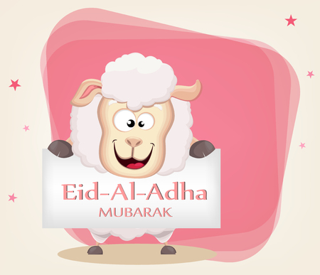 Festival of sacrifice Eid al-Adha. Traditional muslin holiday. Greeting card with funny sheep holding placard. Vector illustration on abstract background.