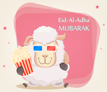 Festival of sacrifice Eid al-Adha. Traditional muslin holiday. Greeting card with funny sheep in 3D glasses holding popcorn. Vector illustration on abstract background.