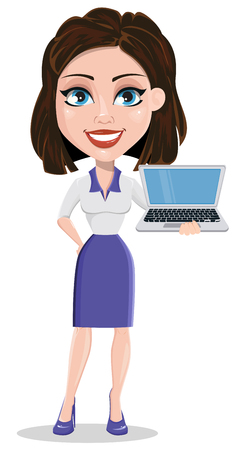 woman laptop: Beautiful business woman holding modern laptop. Businesswoman in formal wear standing straight. Cute cartoon character. Vector illustration. Illustration