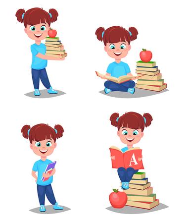Retour à l'école. Cute girl est prête à étudier. Joli enfant. Ensemble de quatre illustrations vectorielles.