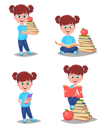 Back to school. Cute girl is ready for studying. Pretty child. Set of four vector illustrations.