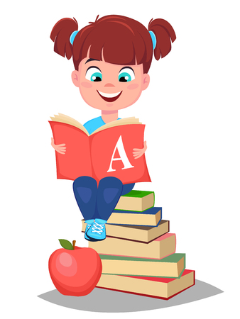 Back to school. Cute girl holding primer and sitting on a stack of books. Pretty little schoolgirl. Cheerful cartoon character. Vector illustration