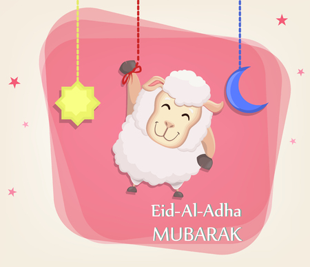 Festival of sacrifice Eid al-Adha. Traditional muslin holiday. Greeting card with funny sheep, moon and star. Vector illustration on abstract background.