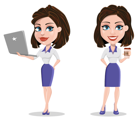 Beautiful business woman holding laptop and having a rest while coffee break. Businesswoman in formal wear standing straight. Cute cartoon character. Vector illustration.