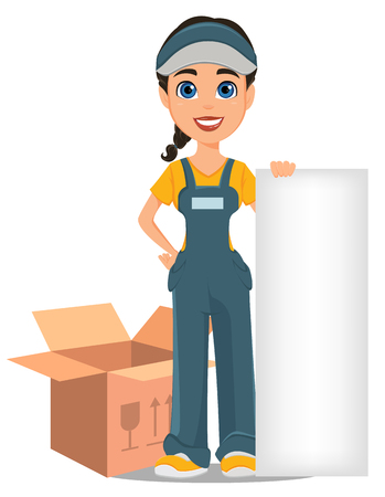 Courier woman standing near opened box and holding blank placard. Professional fast delivery. Cute cartoon character. Vector illustration.