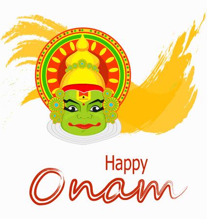sravanmahotsav: Kathakali face with heavy crown for festival of Onam celebration. Colorful vector illustration on abstract background.
