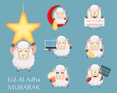 Festival of sacrifice Eid al-Adha. Traditional muslin holiday. Set of funny sheep with various things. Vector illustration Vetores