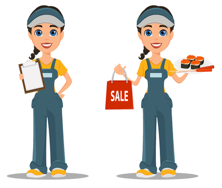 Courier woman with sushi and with blank clipboard. Professional fast delivery. Set. Cute cartoon character.