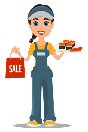 Courier woman holding sushi, chopsticks and paper bag for sale. Professional fast delivery. Cute cartoon character. Vector illustration. Illustration