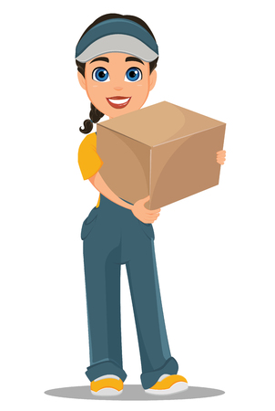 Courier woman standing with parcel. Professional fast delivery. Cute cartoon character. Vector illustration. Ilustracja