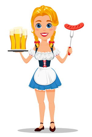 bavarian girl: Oktoberfest vector illustration with sexy redhead girl holding three pints of beer and grilled sausage on fork. Can be used for poster, invitation, banner.