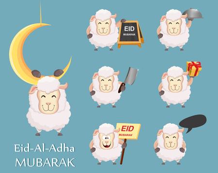 Festival of sacrifice Eid al-Adha. Traditional muslin holiday. Set of funny sheep. Vector illustration Illustration