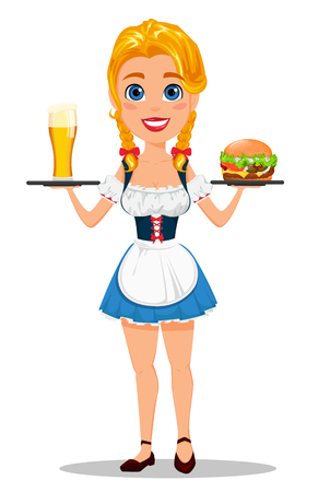 Oktoberfest vector illustration with sexy redhead girl holding pint of cold beer and tasty cheeseburger. Can be used for poster, invitation, banner.