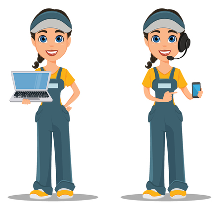 woman laptop: Courier woman with headset accepts an order, holding smartphone and standing with laptop. Professional fast delivery. Cute cartoon character. Vector illustration. Illustration
