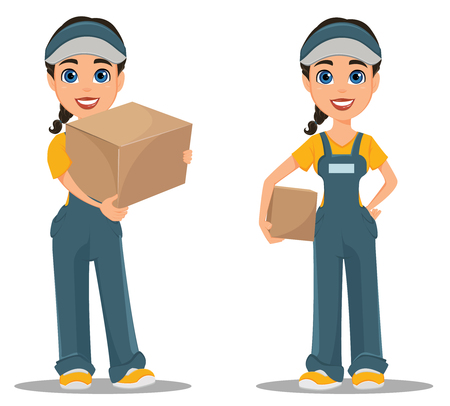 Courier woman holding carton box. Set. Professional fast delivery. Cute cartoon character. Vector illustration. Illustration