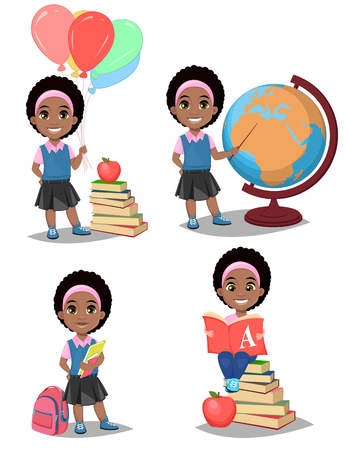Back to school. Cute Afro-American girl is ready for studying. Pretty child. Set of four vector illustrations.