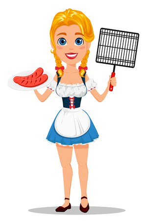 bavarian girl: Oktoberfest vector illustration with sexy redhead girl holding plate with grilled sausages and grid for barbecue. Can be used for poster, invitation, banner.