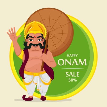 King Mahabali. Happy Onam festival in Kerala. Vector illustration for sale or banner. Stock Vector - 84074591