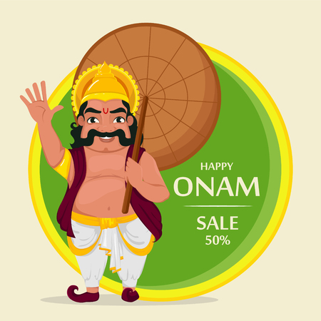 King Mahabali. Happy Onam festival in Kerala. Vector illustration for sale or banner.