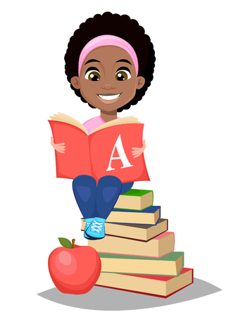 Back to school. Cute Afro-American girl holding primer and sitting on a stack of books. Pretty little schoolgirl. Cheerful cartoon character. Vector illustration